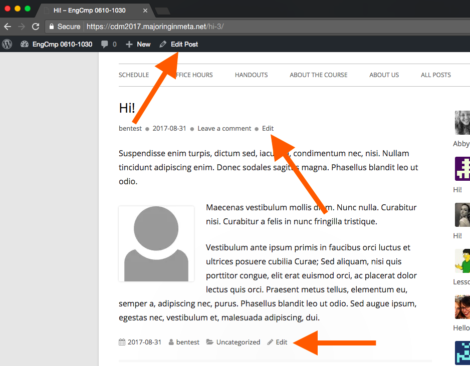 """screen capture of a wordpress post with arrows pointing to the three """"Edit"""" links (top of post, bottom of post, top admin bar)"""